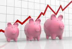 Graphic and piggy bank Stock Images