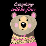 Graphic portrait of a funny bear Stock Image