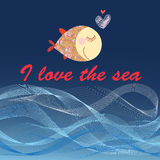 Graphic poster with fish and sea waves Royalty Free Stock Images