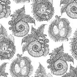 Graphic prehistoric collection. Prehistoric graphic collection of dinosaur body parts, fossils and plants. Vector seamless pattern drawn in engraving technique Stock Image