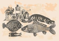 Graphic project, retro fish in kitchen Stock Image
