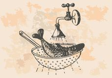 Graphic project, retro fish in kitchen. Vector for artist and graphic designers Royalty Free Stock Image