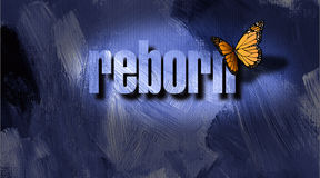 Graphic Reborn Butterfly and textured background. Dramatic graphic metaphoric illustration of the Christian concept of being born again. Illustration composed of Stock Photo