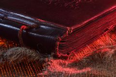 Graphic resources.Old photo album Backgrounds for creativity.The shade of red. Graphic resources. Binding. The angle of the old albumThe texture of the fabric Royalty Free Stock Photo
