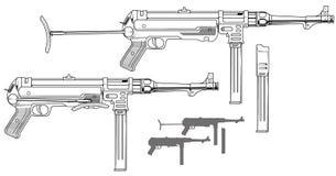 Graphic retro submachine gun with ammo clip. Graphic black and white detailed old retro submachine gun with ammo clip and rifle butt. Isolated on white stock illustration