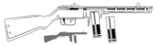 Graphic retro submachine gun with ammo clip. Graphic black and white detailed old retro submachine gun with ammo clip and rifle butt. Isolated on white vector illustration