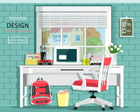 Graphic room set with desk, chair, window, bag, books, note book. Stylish home office. Cute room. Vector illustration Royalty Free Stock Photo