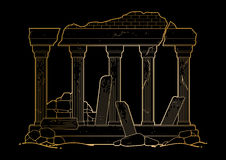 Graphic ruined ancient architecture Stock Photo