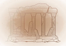 Graphic ruined ancient architecture Stock Images