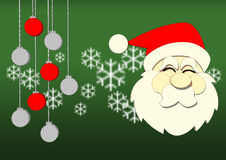 Graphic Santa on green backgroun. Graphic Santa with snow and christmass ball on green background Stock Photo