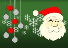 Graphic Santa on green backgroun Stock Photo