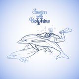 Graphic scuba diver riding the dolphin Royalty Free Stock Photo