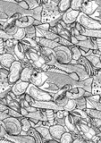 Graphic seafood pattern Royalty Free Stock Photo
