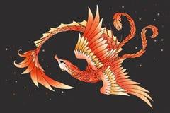 Graphic seahorse phoenix hybrid Stock Image