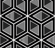 Graphic seamless abstract pattern, regular geometric black and w Royalty Free Stock Image