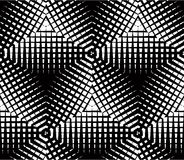 Graphic seamless abstract pattern, regular geometric black and w Stock Images