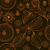 Graphic seamless floral  pattern Stock Photos