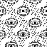 Waterdcolor all seeing eye. Graphic seamless pattern of all seeing eye pierced by the lightning. Vector tattoo design in old school style. Coloring book page for Stock Photo