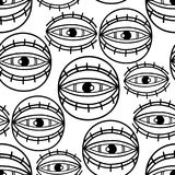 Graphic all seeing eye. Graphic seamless pattern of all seeing eyes. Vector tattoo design in old school style. Coloring book page for adults and kids Royalty Free Stock Photos