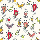 Graphic seamless pattern with birds Stock Image
