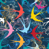 Graphic seamless pattern with colorful swallows Royalty Free Stock Image