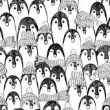 Graphic Seamless Pattern With Penguins. Stock Image