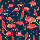 Graphic seamless pattern of red flamingo Stock Images
