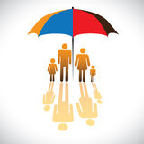 Graphic of Secure family people icons & umbrella s Royalty Free Stock Photos