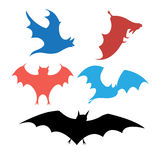 Graphic set of bats. Bright set of silhouettes of bats on a white background royalty free illustration