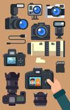 Graphic set camera and video recorder. Stock Photography