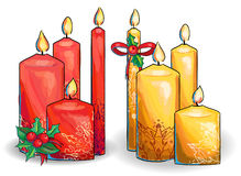 Graphic  set of christmas candles. Christmas candles collection decorated with ornaments Stock Image