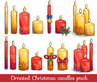 Graphic  set of christmas candles  Royalty Free Stock Photos