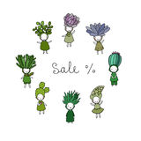 Graphic set with cute cartoon succulents. Stock Photography