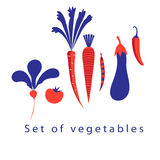 Graphic set of different vegetables Royalty Free Stock Photography