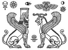 Graphic set: figures of the Assyrian mythology - a lion and a sphinx of people. Space symbols. Monochrome drawing isolated on a white background. Vector stock illustration