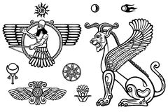 Graphic set: figures of the Assyrian mythology - winged god and a lion a sphinx. Space symbols. Monochrome drawing isolated on a white background. Vector vector illustration