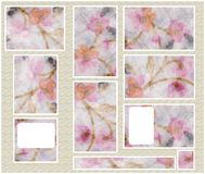 graphic set with flowers Royalty Free Stock Photography
