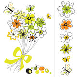 Graphic set with flowers Royalty Free Stock Images