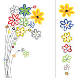 Graphic set with flowers Royalty Free Stock Photos