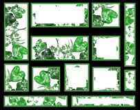 graphic set with leaves hearts Royalty Free Stock Photo