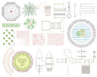 Graphic set of recreation and landscape elements. Top view. Vector illustration. on white background Stock Photography
