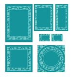 Graphic set with template frames in different formats such as A4. A5, rsvp card, buisness cards and square template with square and circle frames in blue Stock Photos