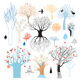 Graphic set of trees. Graphic collection of trees on a white background. Vector illustration Stock Images