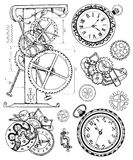 Graphic set with vintage clock mechanism in steampunk style. Hand drawn illustration, sketch tattoo, old black and white technology collection with cogs, gear Royalty Free Illustration