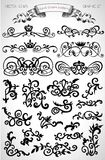 Graphic set with vintage design and page decoration elements Stock Image