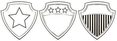 Graphic shield icons with stars and stripes set Royalty Free Stock Photography