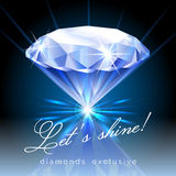 Graphic of Shining Diamond with Text Stock Photo