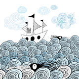 Graphic ship at sea. Beautiful image of the ship on the background graphic ornamental sea waves Stock Image