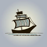 Graphic ship with striped sails. Vector black graphic ship with colorful striped sails Stock Photography