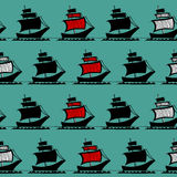 Graphic ships seamless pattern. Vector bright graphic ships seamless pattern Stock Image